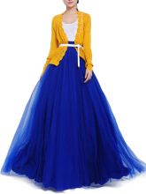 Evening Bow Belt Solid Mesh Tulle Elastic Waist Women Maxi Skirts  Blue One Size