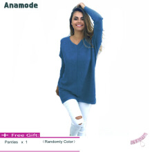 Anamode Women V Neck Sweater Long Sleeves Knitted Pullover Fashion Basic Knitwear -Light Blue -