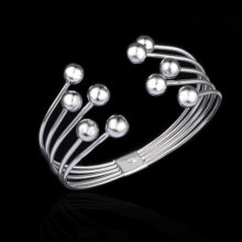 YDH Women's Fashion 8M Beads Bangle Bracelet Jewelry Gift Anniversary Gift silver