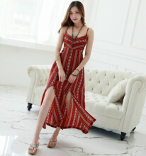 Ninataly Bohemian Retro Dress Wanita Long Chic Backless Pantai Gaun Print Slit Sling Dress Red&Wine S
