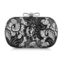 [LESHP]Women Evening Bag Black Lace Lady Handbag Shoulder Bowknot Silver