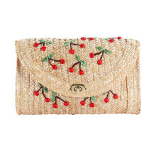 [LESHP]Women Straw Beach Bag Handmade Cherry Embroidery Unique Rattan Shoulder Yellow