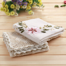 Qingwei cotton and linen embroidered ribbon embroidered pastoral style multi-purpose cover cloth 2 loaded 90 * 90cm