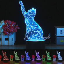 Farfi 3D LED Cat Lamp Optical Illusion Visual Night Light 7 Colors Home Room Decor as the pictures