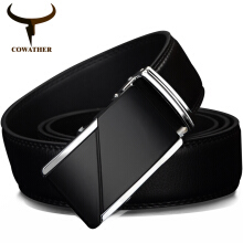 COWATHER COW genuine Leather Belts for Men High Quality Male Brand Automatic Ratchet Buckle belt