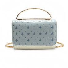 [LESHP]Korean Style Ladies Casual Small Square Bag Crossbody Smooth Handbag for gift Blue