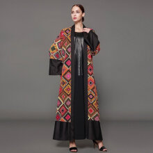 COZIME Vintage Printed Dress Mix Color Cardigan Women Muslim Abaya Dress Long Robes Multicolor Size S