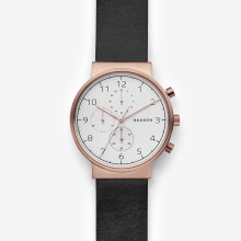 Skagen Ancher - White round Dial 40mm - Leather - Black - Chronograph - Jam Tangan Pria - SKW6371 - SL