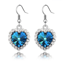 BANGLONG Ocean Hearts Pendant Earrings Woman Crystal Heart Piercing Jewelry Accessories -One Size - Blue