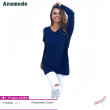 Anamode Women V Neck Sweater Long Sleeves Knitted Pullover Fashion Basic Knitwear -Dark Blue -