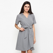 A&D MS 1065 Grey Dress With Tie - Grey
