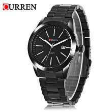 Curren 8091 Male Quartz Calendar Luminous Stainless Steel Band Wristwatch