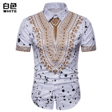 SiYing fashion men's lapel a national style printed slim short-sleeved T-shirt