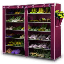Home-Klik Shoe Rack 12 Layers with Dust Cover - Rak Sepatu - Maroon