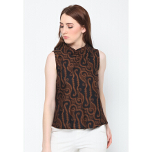 FBW Ballina Sleeveless High Neck Batik Parang Top - Cokelat