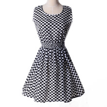 SESIBI S~2XL Houndstooth Dress Strapless Customes Fashion Beach Dress Women Clothes Sundress -