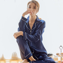 Newlan Autumn Women Sexy Satin Silk Pajamas Long Sleeve Shirt + Pants Pajama Set