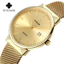 WWOOR Brand Luxury High Quality Quartz-watches Stainless Steel Casual Waterproof Mesh Belt Watch Fashion Watch for Male