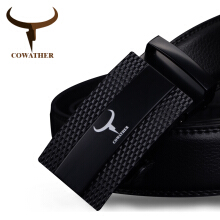 COWATHER 100% cow genuine leather belts for men top qulaity automatic alloy buckle