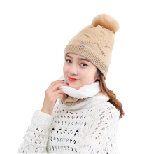 SiYing fashion winter warm neck knit hat five-pointed star female hat