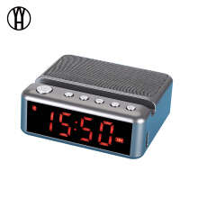 WH Portable Bluetooth Speakers with phone stand FM Radio Alarm Clock Wireless Stereo Subwoofer Music Box Support LCD Display