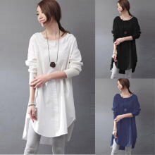 Zanzea Casual Women Crew Neck Long Sleeve Solid Color Mid-Long Blouse