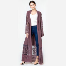 Fashion Long Dress Embroidery Lace Stitching Cardigan Muslim Abaya Dress Purple Size S