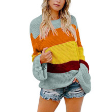 BESSKY Womens Multicolor Striple Sweater Casual Knitted Loose Long Sleeve Pullover_