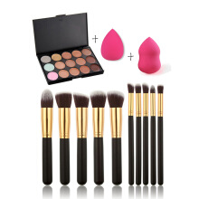 MMIOT 15 Color Contour Face Makeup Concealer Palette 2 Sponge Puff 10 Brushes Black Others
