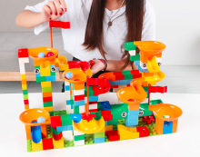 Jushi toy--148 piece big block -track building set--DIY variety slide & maze --safe assured material--best gift for kid, age3 4 Pattern