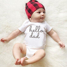 [COZIME] Baby Boys Girls Short Sleeve Romper Hello Dad Printed Bodysuit Infant Clothes White  43165