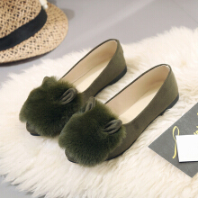 Slip On Comfortable Wool Lazy Soft Loafers For Women Green 38