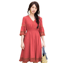Inman 1882104100 Dress Women Hollowed Dress Hale Sleeve Solid Color A Line Lady Dress Office Female Dresses
