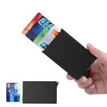 ZUMECA RFID Credit Card Holder Minimalist Slim Wallet Front Pocket Card Protector Credit Card Case Black Black