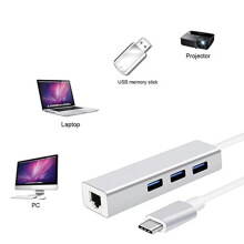 Type C USB 3.1 TO USB HUB 3 Port + LAN RJ45 GIGABIT 100/1000 Billionton Silver Others