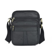 [COZIME] Casual Man Chest Pack Cowhide Genuine Leather Zipper Crossbody Shoulder Bag Black1
