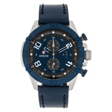 Expedition E 6763 MC LTUBU Chronograph Men Blue Dial Blue Leather Strap [EXF-6763-MCLTUBU]
