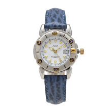 ALBA Jam Tangan Wanita - Blue Silver White - Leather Strap - AXTH54