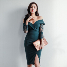 Ninataly Wanita Baru Renda Gaun Jahitan Off-shoulder Lengan Panjang Slim Slim Dress Slimming Green XL