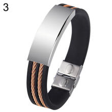 Farfi Men's Punk Style Simple Stainless Steel Silicone Bangle Wristband Cuff Bracelet