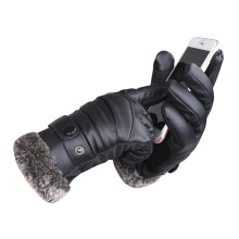 SiYing fashion leather gloves thick warm touch screen men's cycling gloves  Black