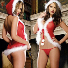 Fashion Christmas Underwear Women's Sexy Lingerie Red Babydoll Dress Sleepwear TB Red