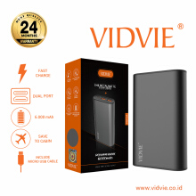 VIDVIE Powerbank PB714 6000 mAh / Battery Charger / Pengisi Daya - Dark Grey