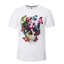 SESIBI M~3XL 3D Fashion Shirts Women Men Cool Short Sleeve Tees Lovers Tops Printing Blouse -Flower Lion and Butterfly -