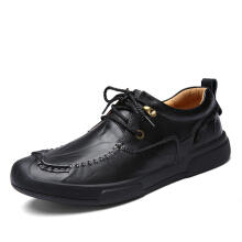 Zanzea Men Lace Up Hand-made Casual Flat Oxfords Black