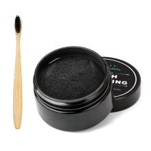 [kingstore] 30g Activated Organic Charcoal Teeth Powder + Toothbrush Set Whitening Power Black