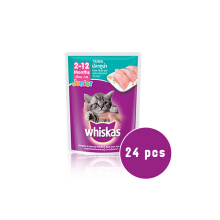 Whiskas Pouch Junior Tuna 85 gram 24 pcs Makanan Kucing Whiskas Sachet / Saset 85gr