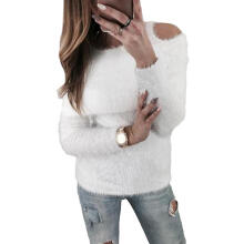 Farfi Chic Solid Color Sweater Women Autumn Winter Cold Shoulder Long Sleeve Pullover
