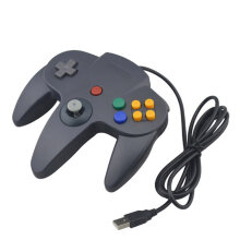 COZIME For USB N64 Wired Game Controller Gamepad Joystick Joypad Gaming Black