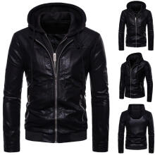 Farfi Fake 2-Piece Men's Zipper Long Sleeve Hooded Genuine Leather Slim Jacket Coat